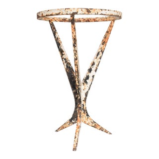 Mid-Century Modern French Side Table in Iron, Original Patina