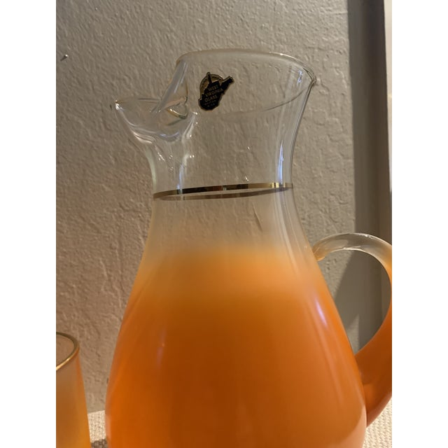 1960s Mid-Century Orange Glasses and Pitcher Bar Ware - 7 Pieces For Sale - Image 4 of 6