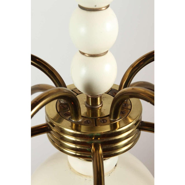 American 1960s Wood and Brass Chandelier For Sale - Image 3 of 9