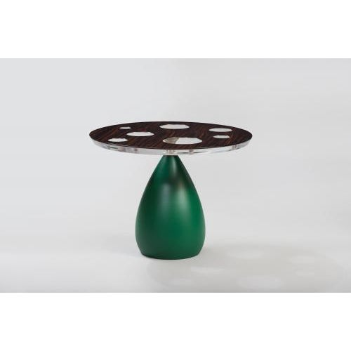 The Seven Planets occasional table by Pipim is shown with a top of high luster finished Macassar Ebony on lucite with a...