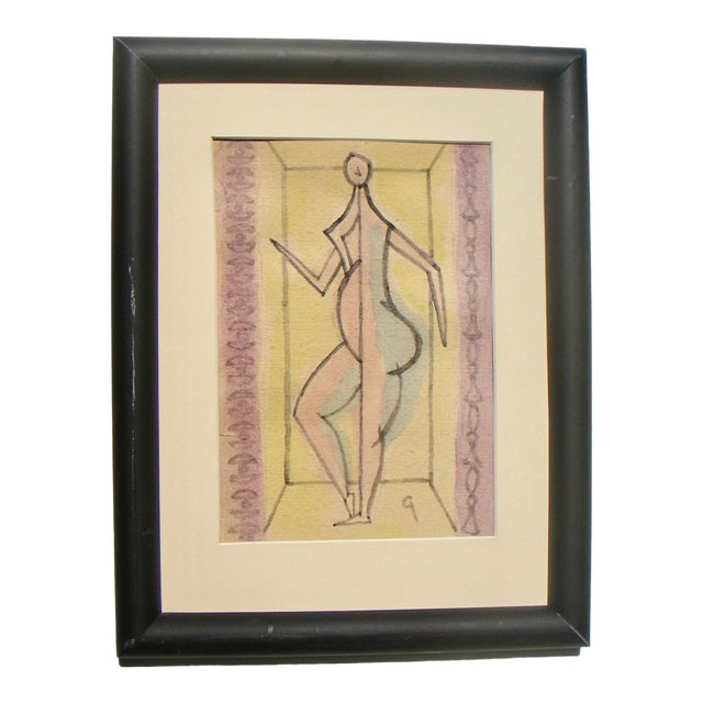 Gilberg Abstracted Figurative Drawing For Sale