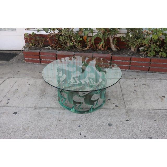 Transparent Vintage Beautiful Low Bronze Coffee Table For Sale - Image 8 of 12