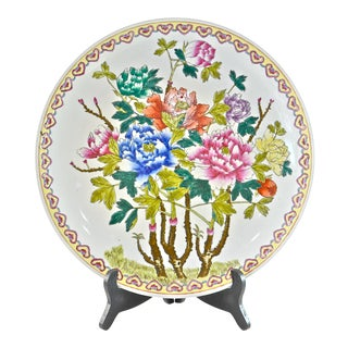 Chinese Hand Painted Floral Charger With Stand For Sale