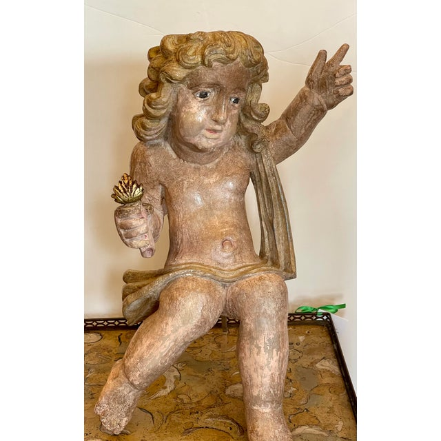 Antique Carved Italian Cherub Angel Putti Figure Sculpture