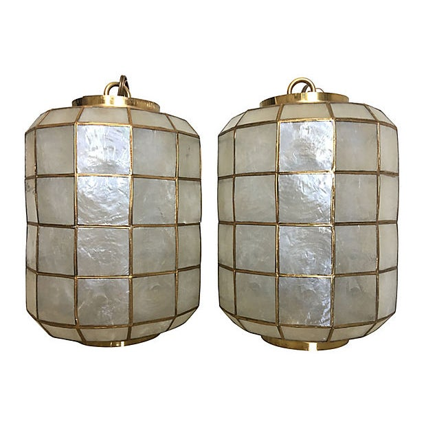 Asian Capiz Shell Lanterns - a Pair For Sale - Image 3 of 9