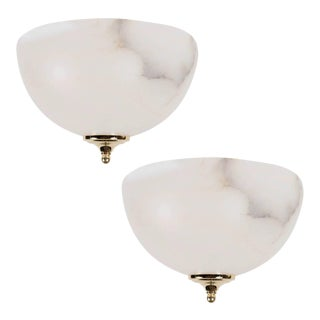 Pair of Art Deco Style Alabaster Flush Mounts with Brass Fittings For Sale