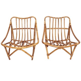 1960s Vintage French Bamboo & Rattan Lounge Chairs- A Pair For Sale