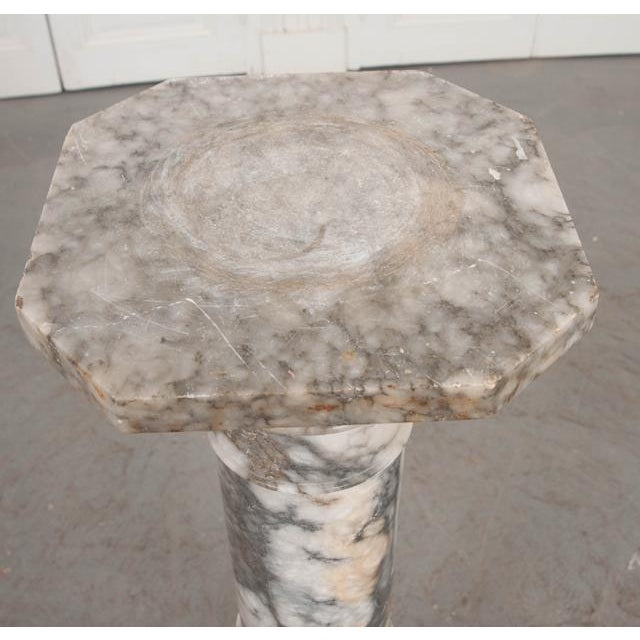 French 19th Century Grey-And-White Marble Pedestal For Sale - Image 9 of 11