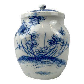 Japanese Blue and White Porcelain Tea Caddy For Sale