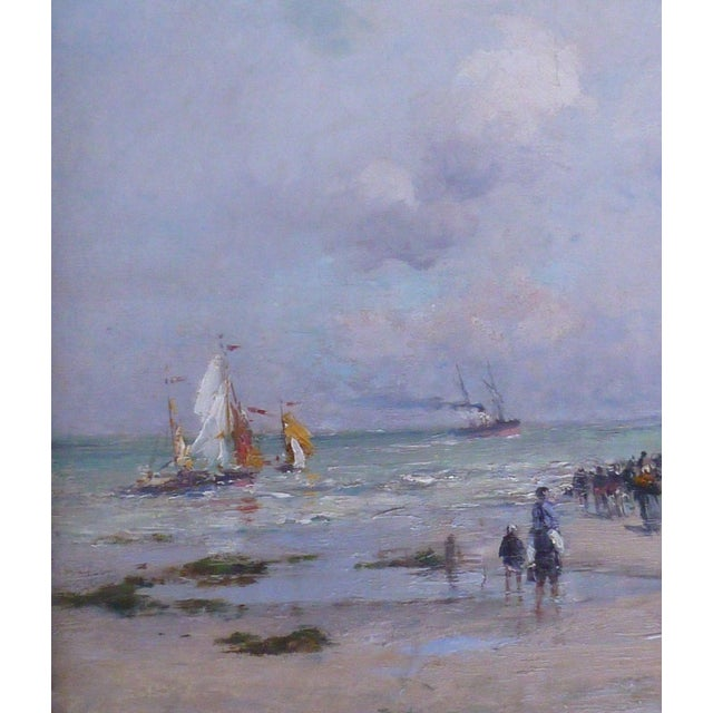 19th C French Impressionist Coastal Scene W Hot Air Balloon Painting For Sale - Image 4 of 10