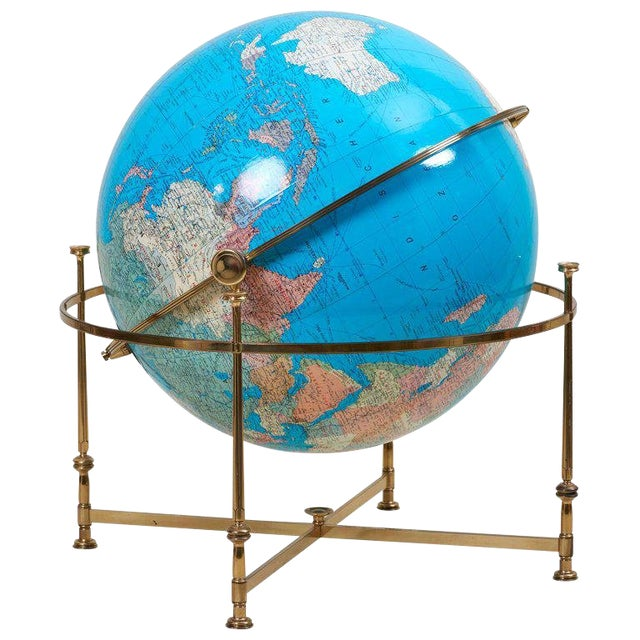 Huge Vintage Illuminated Globe With Brass Stand For Sale