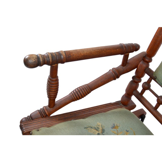 Brown Antique Rocking Chair Hand Carved & Turned Walnut Wood Needlepoint Upholstery For Sale - Image 8 of 13