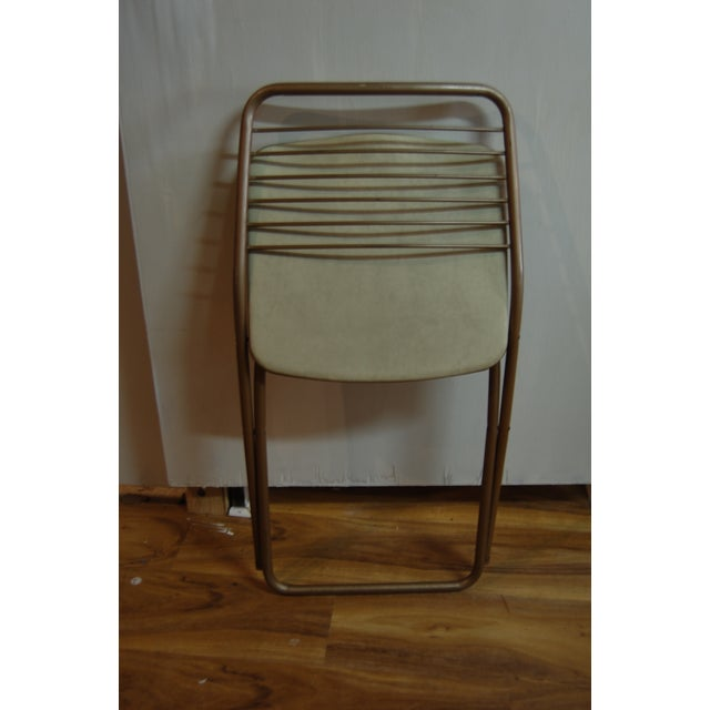 Brown Vintage Stylaire Metal Folding Chairs - 4 For Sale - Image 8 of 9