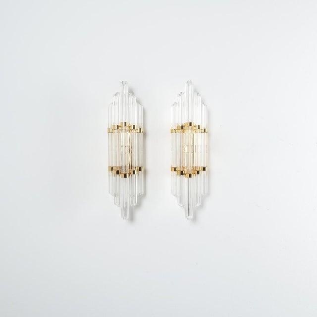 Mid-Century Modern Large Venini Style Murano Glass and Brass Wall Lamps Sconces, 1970 For Sale - Image 3 of 8