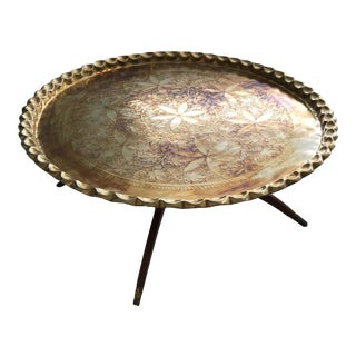 Vintage Moroccan Brass Pie Crust Coffee Table For Sale