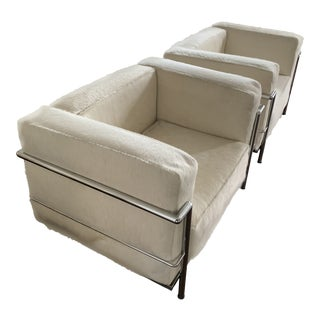Pair of Le Corbusier Lc3 Style Chairs in Pony Hair For Sale
