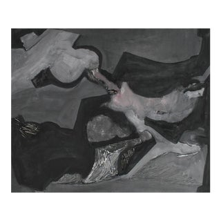 Abstracted Forms in Grayscale, Acrylic Painting, 1960s For Sale