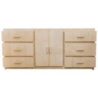 Beautiful White Shagreen Buffet with Six Drawers and Two Cabinet Doors
