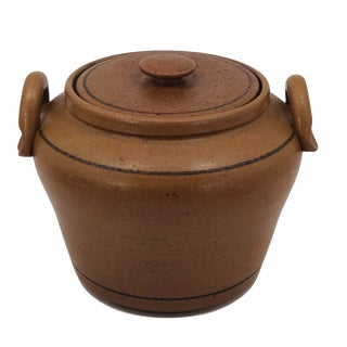Hand-Thrown Mustardy Brown Stoneware Cooking and Serving Pot For Sale