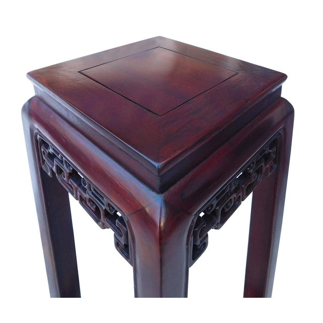 Oriental Plant Pedestal in Red Brown Stain - Image 3 of 5