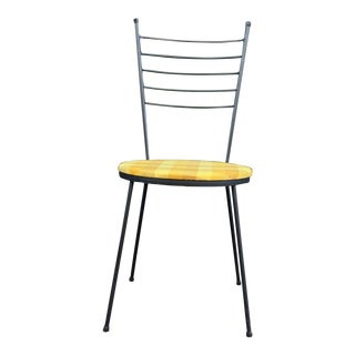 1950s Vintage Paul McCobb for Arbuck Black Wrought Iron Hairpin Dining Cafe Chair - 6 Available For Sale