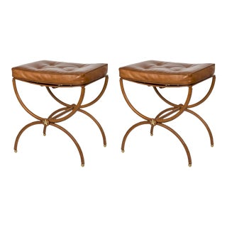 Stitched Leather Stools by Jacques Adnet - A Pair For Sale