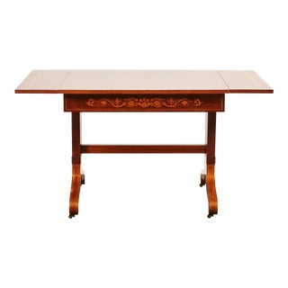 19th Century Danish Mahogany Empire Drop Leaf Table with Intarsia Inlay For Sale