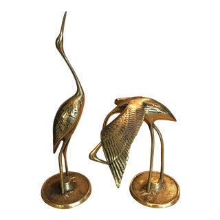 Mid Century Solid Brass Cranes - A Pair