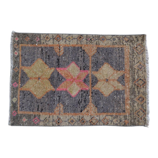 """Oushak Rug Mat Distressed Small Rug - 1'9"""" X 2'8"""" For Sale"""