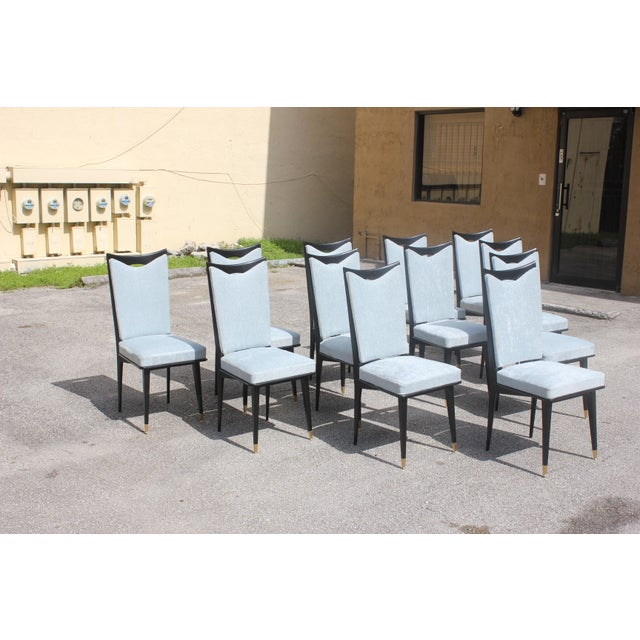 Art Deco Monumental Set of 12 French Art Deco Dining Chairs, Circa 1940s For Sale - Image 3 of 13