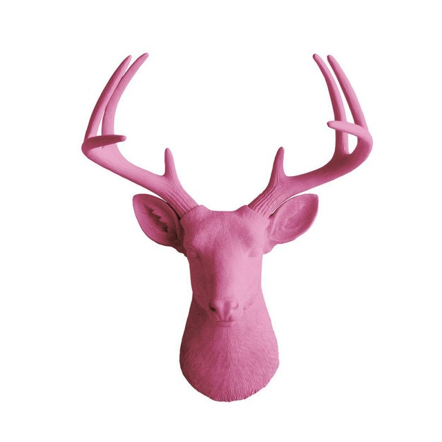 Wall Charmers Fuchsia Pink Faux Deer Head For Sale - Image 4 of 4
