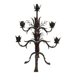 Large Vintage Metal Floral Candelabra For Sale
