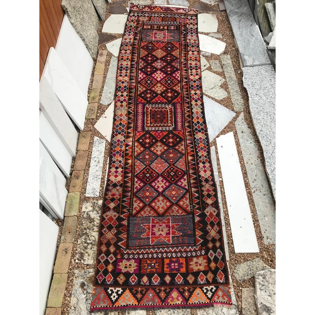 """Tribal Hand Made Vintage Turkish Runner- 2'10""""x11'2"""" For Sale - Image 3 of 9"""