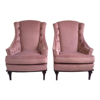 Mid-Century Modern Restored Tufted Velvet Wing Chairs - a Pair