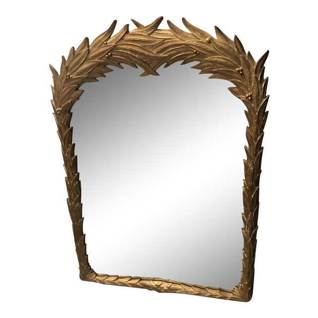 Vintage Gold Lacquered Palm Frond Wall Mirror For Sale