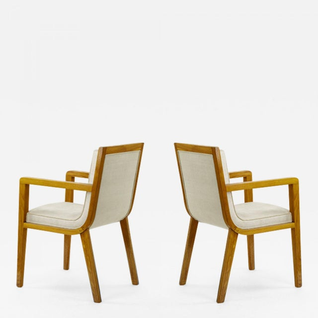 1950s Maxime Old Pair of Refined Oak Arm Chairs(attributed) For Sale - Image 5 of 5
