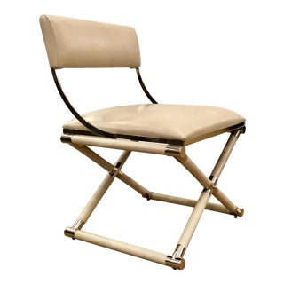Caracole Mid-Century Modern Style Cream Leather and Nickel Accent Chair For Sale