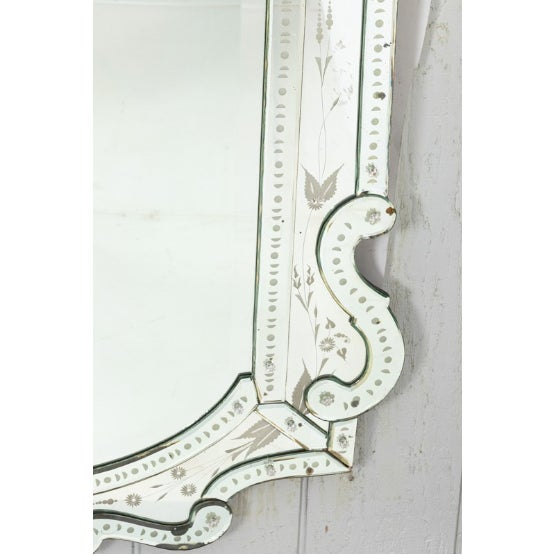 Glass Mid 20th Century Etched Venetian Mirror For Sale - Image 7 of 9