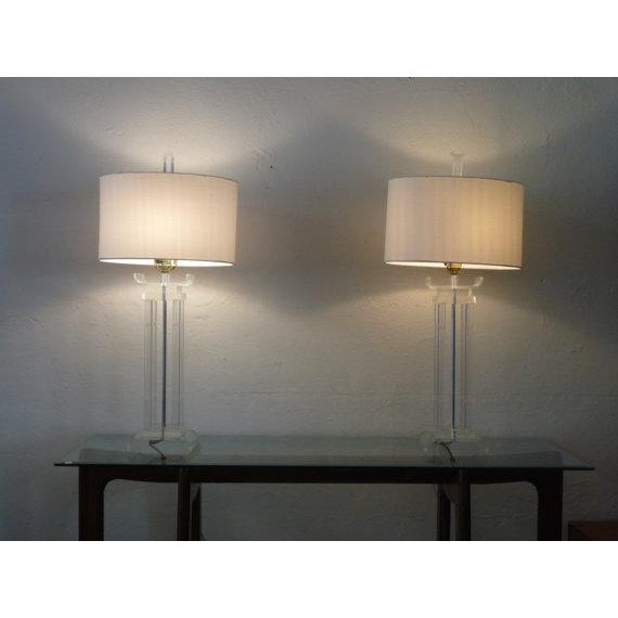 Asian Style Lucite Lamps - Pair - Image 3 of 6