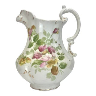 Antique Italian Floral Porcelain Pitcher For Sale
