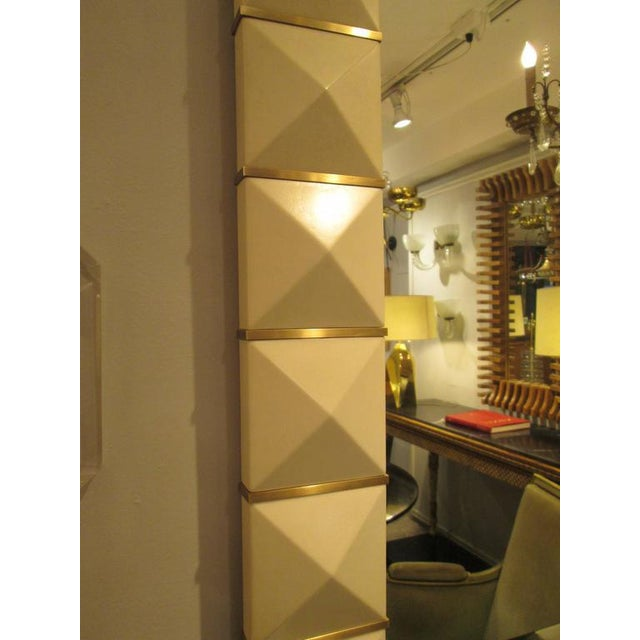 2010s Custom Geometric Parchment Mirror with Inlaid Brass For Sale - Image 5 of 7