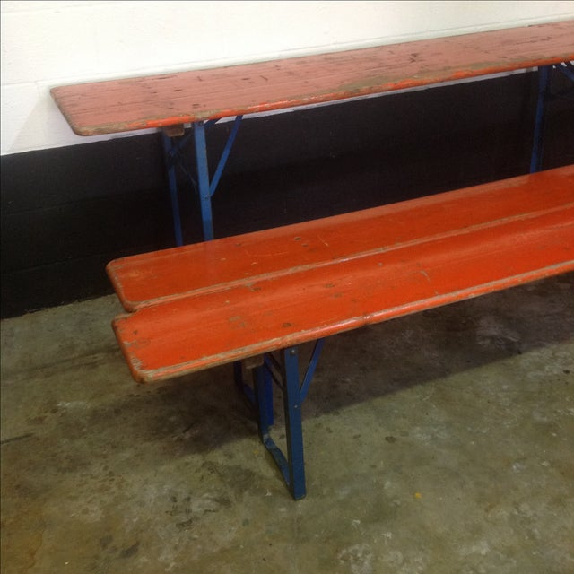 Orange German Beer Garden Table & Benches For Sale - Image 5 of 8