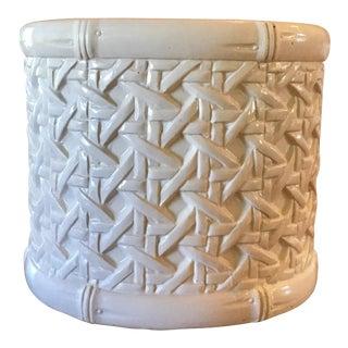 Vintage Mid Century Ceramic Woven Cane Pattern Cachepot Planter For Sale
