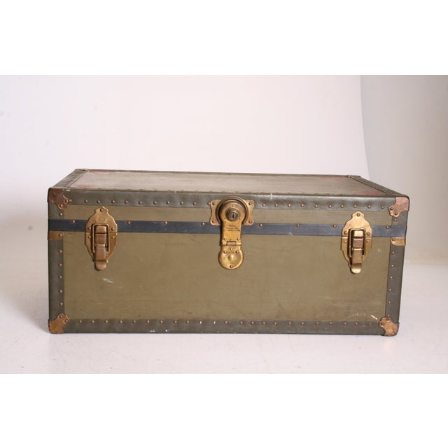Vintage Industrial Green Military Foot Locker Trunk with Tray - Image 2 of 11