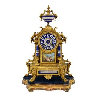 Antique French Brunfaut Richard Et Cie Dore Bronze and Royal Blue Porcelain Clock For Sale