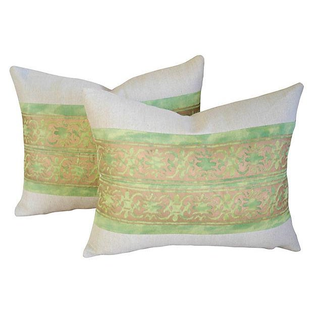 Custom Italian Fortuny Pillows - A Pair - Image 1 of 4