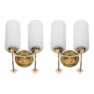 Double Arm Sconces in the Manner of Stilnovo - a Pair For Sale