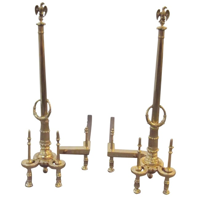 Brass Louis XV Style Brass Tall Andirons - a Pair For Sale - Image 7 of 7