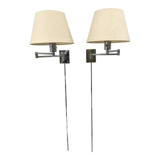 1970s Chrome Vintage Swing Arm Wall Sconces by Georg Hansen - a Pair For Sale