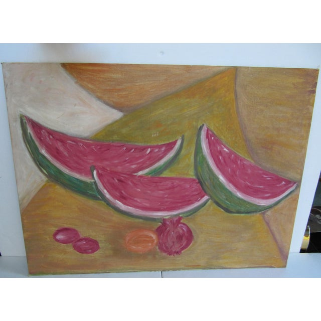 Red Mid-Century Still Life Painting of Watermelon and Pomegranate For Sale - Image 8 of 8